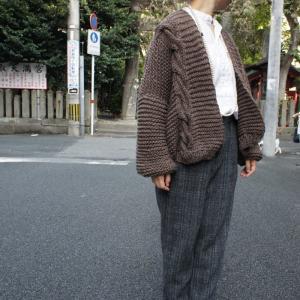Hand Made Knit チャンキーニットカーディガン ブラウン|abracadabra