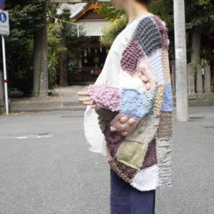 Hand Made Knit パッチワークニットカーディガン ピンク|abracadabra