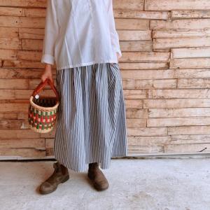 ichi(イチ) タイプライターストライプスカート ブラック|abracadabra