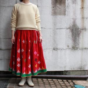グジャラート刺繍ギャザーロングスカート TYPE:D|abracadabra