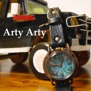 Arty Arty Japan Patrice Ocian limited 青錆深海真鍮腕時計 イタリアンレザー ブラック 約1ヶ月でのお届け|abracadabra