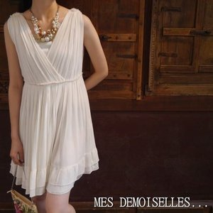 MES DEMOISELLES...Paris メドモアゼル IPOLINE DRESS カシュクールシルクドレス アイボリー|abracadabra