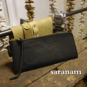 SARANAM サラナンプエブロレザーL字型スリム長財布 ブラック×ブラック 約6ヶ月でのお届け|abracadabra