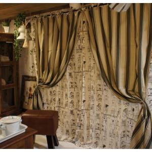 ブロードストライプカーテン ベージュ 110x180cm|abracadabra