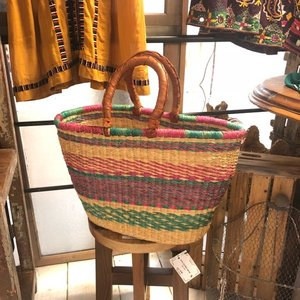 Burkina Basket カラフルグルスィ楕円バスケット Lサイズ/C|abracadabra