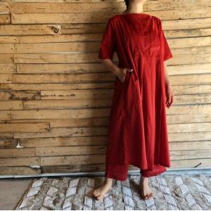 タックドレス パプリカレッド|abracadabra