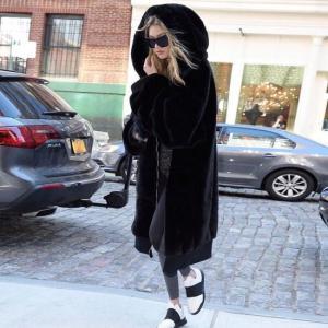 Topanga Fashion ボリュームファーパーカーコート ブラック abracadabra