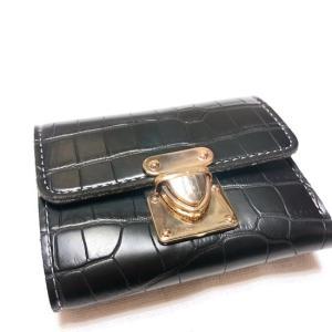 TOPANGA BAG クロコ型押しコンパクト財布 ブラック|abracadabra