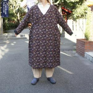 Topanga Fashion 小花キルトカンフーコート ブラウン|abracadabra