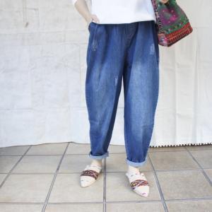 Topanga Fashion ソフトデニムテーパードパンツ abracadabra