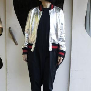 Topanga Fashion シャイニーレザースタジャン シルバー|abracadabra