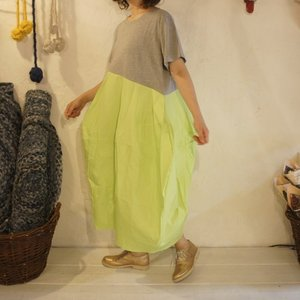 Topanga Fashion バルーンワンピース グレー×ライム|abracadabra