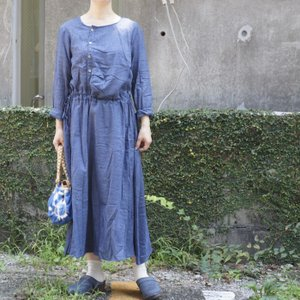 Topanga Fashion フロントボタンロングドレス ブルー|abracadabra