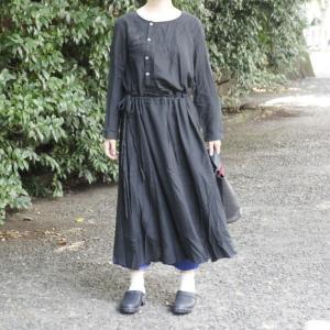 Topanga Fashion フロントボタンロングドレス ブラック|abracadabra