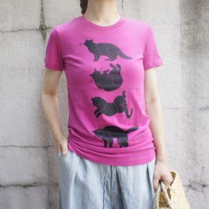 ハンドプリントTシャツ クロネコ|abracadabra