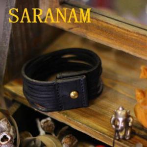 SARANAM サラナン カッティングレザーブレスレット ブラック 約6ヶ月でのお届け|abracadabra