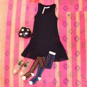 EYE DOLL from L.A アイドール ARPEGED DRESS ピースマーク刺繍ワンピース ブラック|abracadabra