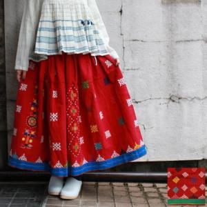 グジャラート刺繍ギャザーロングスカート 全2種|abracadabra