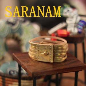 SARANAM サラナン カッティングレザーブレスレット ゴールド |abracadabra