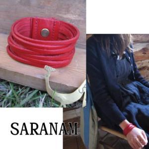 SARANAM サラナン カッティングレザーブレスレット レッド 約6ヶ月でのお届け|abracadabra