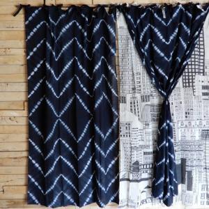 TOPANGA Shibori Curtain シボリカーテン W110xH180cm 黒|abracadabra