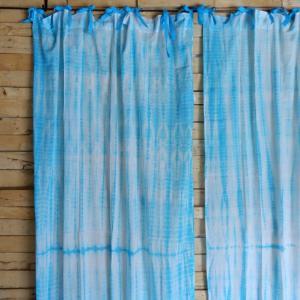 TOPANGA Shibori Curtain シボリカーテン W110xH200cm 白x青|abracadabra