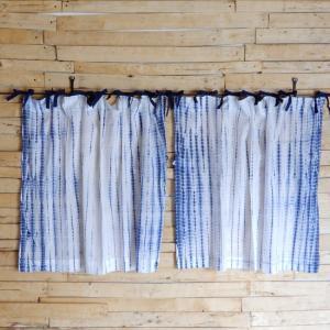 TOPANGA Shibori Curtain シボリカーテン W110xH90cm 白x紺|abracadabra