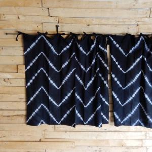 TOPANGA Shibori Curtain シボリカーテン W110xH90cm 黒|abracadabra