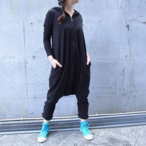オリガミZIPPER長袖ジャンプスーツ ブラック|abracadabra