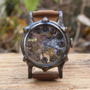 Arty Arty Japan KS Daytona 手巻き式真鍮腕時計 ホースレザーブラウン 約1ヶ月でのお届け|abracadabra