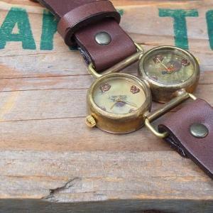 Arty Arty Japan nabe Dragon Fly ツーフェイス手作り腕時計/ダークブラウン 約一カ月でのお届け|abracadabra