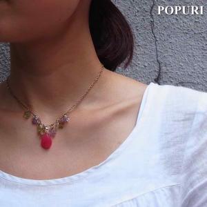 POPURI Japan Pink Jade Chandelier ピンクジェイドシャンデリアネックレス|abracadabra