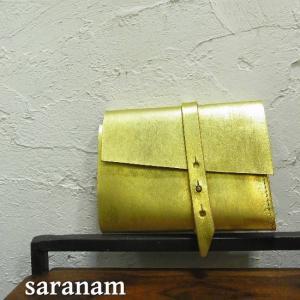 SARANAM サラナン  レザー2つ折りウォレット ゴールド 約6ヶ月でのお届け|abracadabra