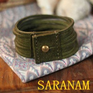 SARANAM サラナン カッティングレザーブレスレット グリーン 約6ヶ月でのお届け|abracadabra