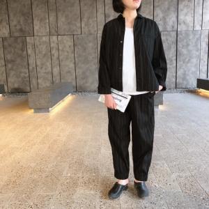 TISSU セットアップ裾ゴムパンツ クロストライプ|abracadabra