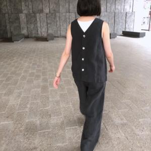 Universal Tissu 京都染リネン2WAYブラウス チャコール|abracadabra