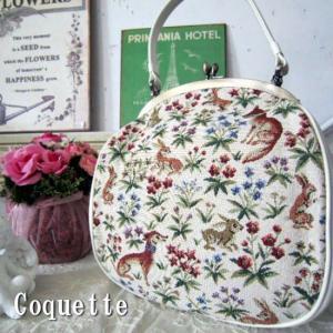 Coquette(コケット) アニマルゴブラン織りがま口レザーハンドバッグ|abracadabra