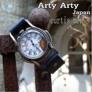 Arty Arty Japan Curtismens焼け跡真鍮腕時計M/ブラック 約1ヶ月でのお届け|abracadabra