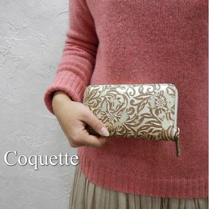 Coquette Japan  フルールラウンド長財布 ホワイトゴールド|abracadabra