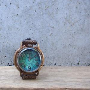 Arty Arty Japan Patrice Ocian limited 青錆深海真鍮腕時計 クラックレザー ブラウン 約1ヶ月でお届け|abracadabra