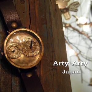 Arty Arty Japan GIGA TIME ビッグフェイス手作り腕時計 ダークブラウン 約1ヶ月でのお届け|abracadabra