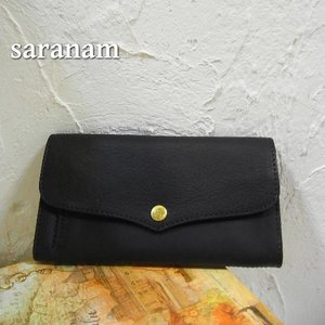 SARANAM サラナン ミネルバレザーフラップ長財布 ブラック 約6ヶ月でのお届け|abracadabra
