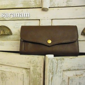 SARANAM(サラナン) ミネルバレザーフラップ長財布 チョコ 約6ヶ月でお届け|abracadabra