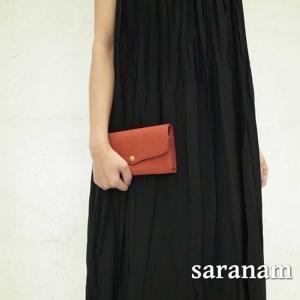 SARANAM(サラナン) ミネルバレザーフラップ長財布 レッド 約6ヶ月でお届け|abracadabra