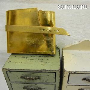 SARANAM サラナン  エコムラレスレザーコンパクトベルトサイフ ゴールド 約6ヶ月でのお届け|abracadabra