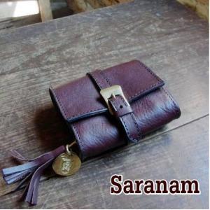 SARANAM サラナンミネルバレザー2つ折り財布 チョコ 約6ヶ月でのお届け|abracadabra