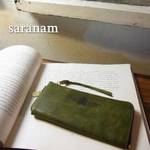 SARANAM サラナン プエブロレザーL字型スリム長財布 グリーン 約6ヶ月でのお届け|abracadabra