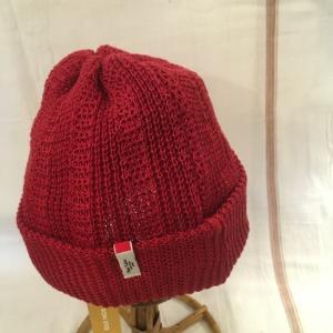 Nine Tailor(ナインテーラー) リネンニット帽 レッド|abracadabra