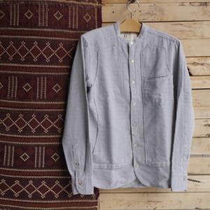 DNL Italy スリムフィット変わり織りスタンドカラーシャツ|abracadabra