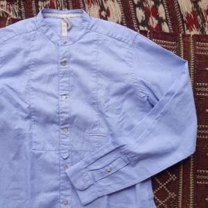DNL Italy スリムフィットスタンドカラーシャツ ブルー|abracadabra